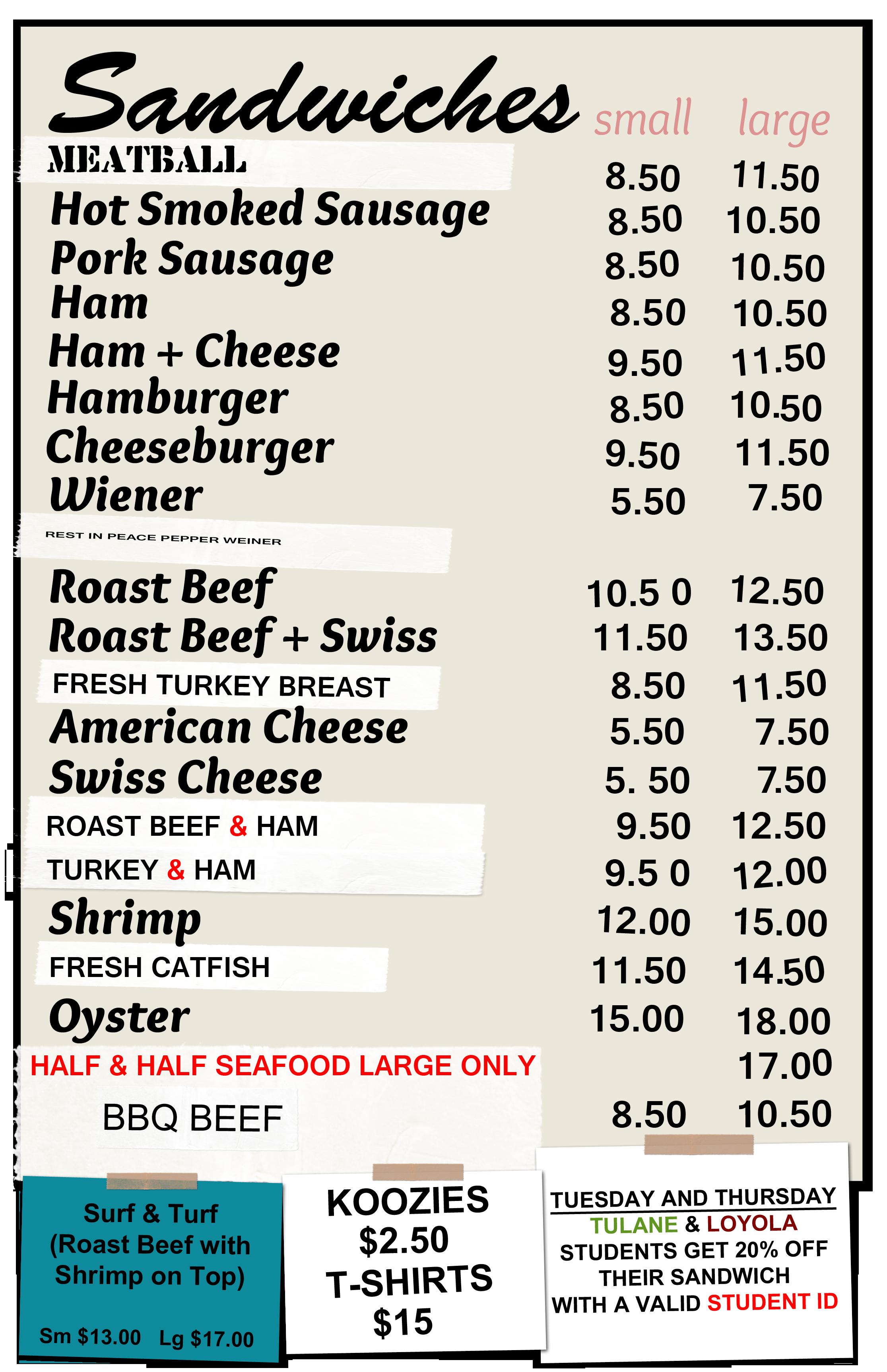 Domilise's menu